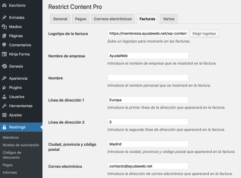facturacion-restrict-content-pro